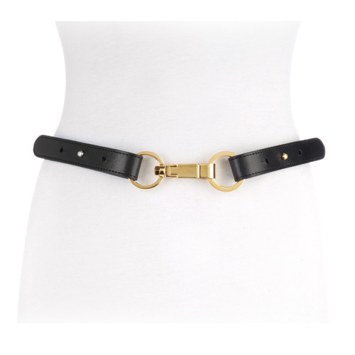Women's Arya Chainlink Belt in Black and Gold