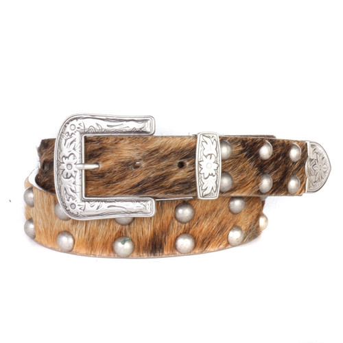 Women's Hair-On Brindle Leather Belt