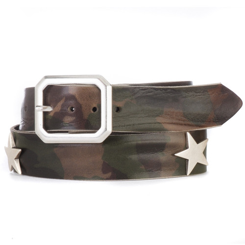 Men and Women's Leather Belt in Olive Camouflage