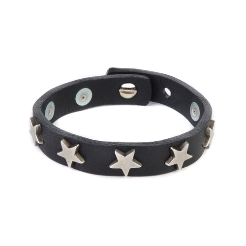Sandi Star Studded Leather Cuff in Black