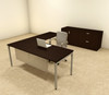 3pc L Shaped Modern Contemporary Executive Office Desk Set, #OF-CON-L70