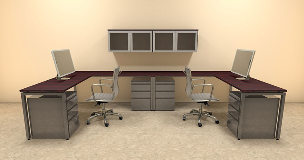Two Persons Modern Executive Office Workstation Desk Set, #OF-CON-S18