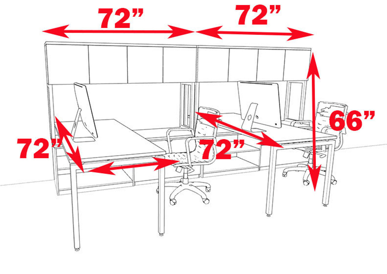 Two Persons Modern Executive Office Workstation Desk Set, #OF-CON-S3