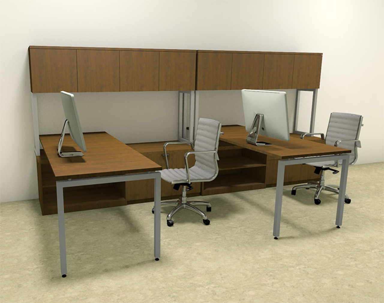 Two Persons Modern Executive Office Workstation Desk Set, #OF-CON-S4
