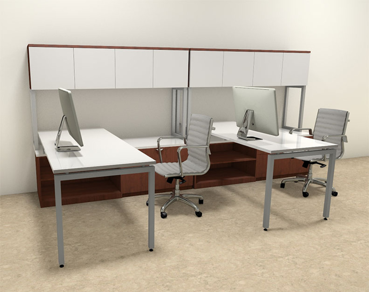 Two Persons Modern Executive Office Workstation Desk Set, #OF-CON-S7