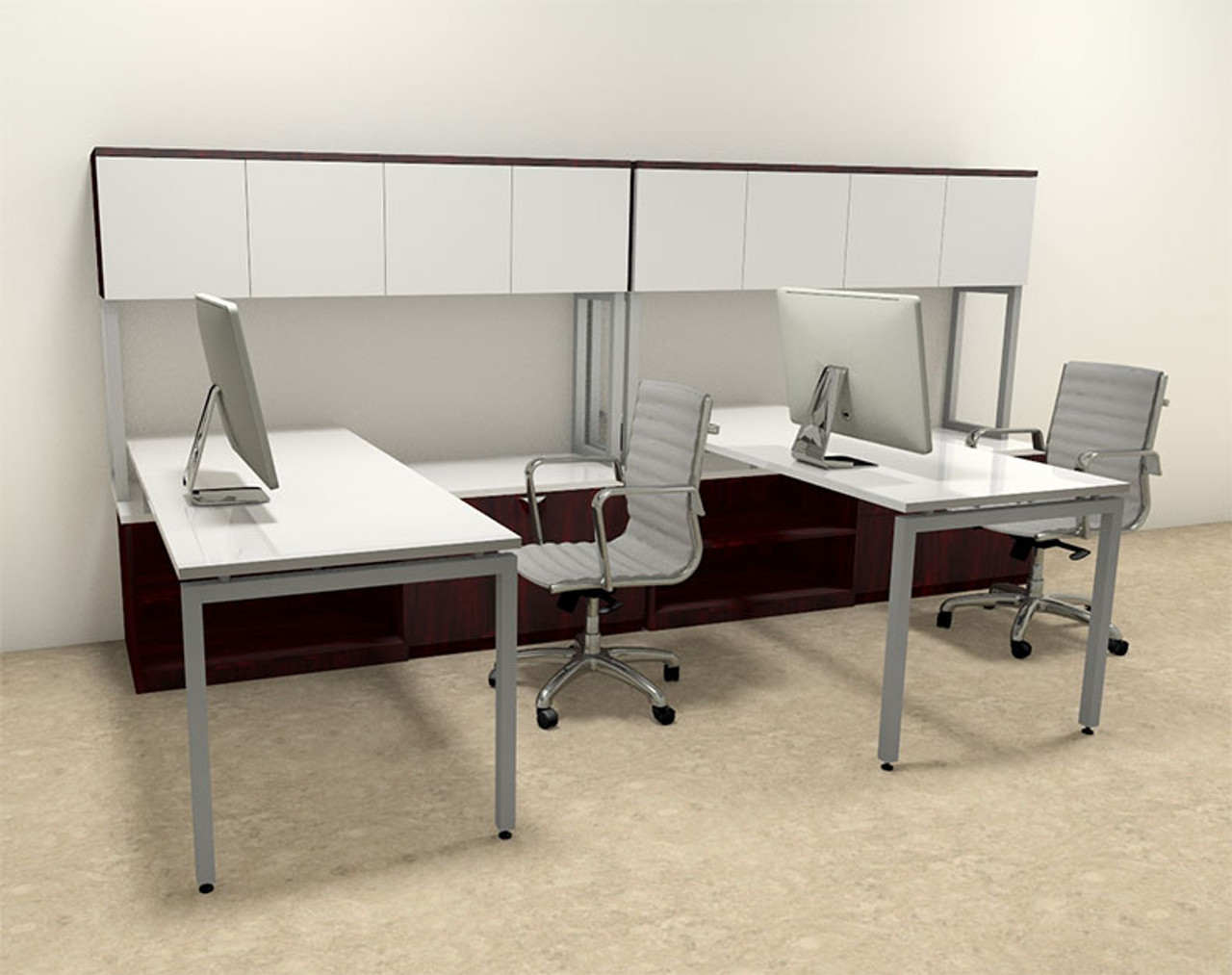 Two Persons Modern Executive Office Workstation Desk Set, #OF-CON-S8