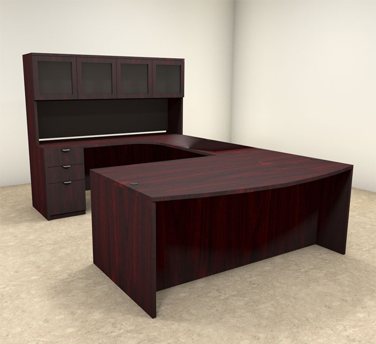 5pc u shaped modern contemporary executive office desk set of con u3 h2o furniture. Black Bedroom Furniture Sets. Home Design Ideas