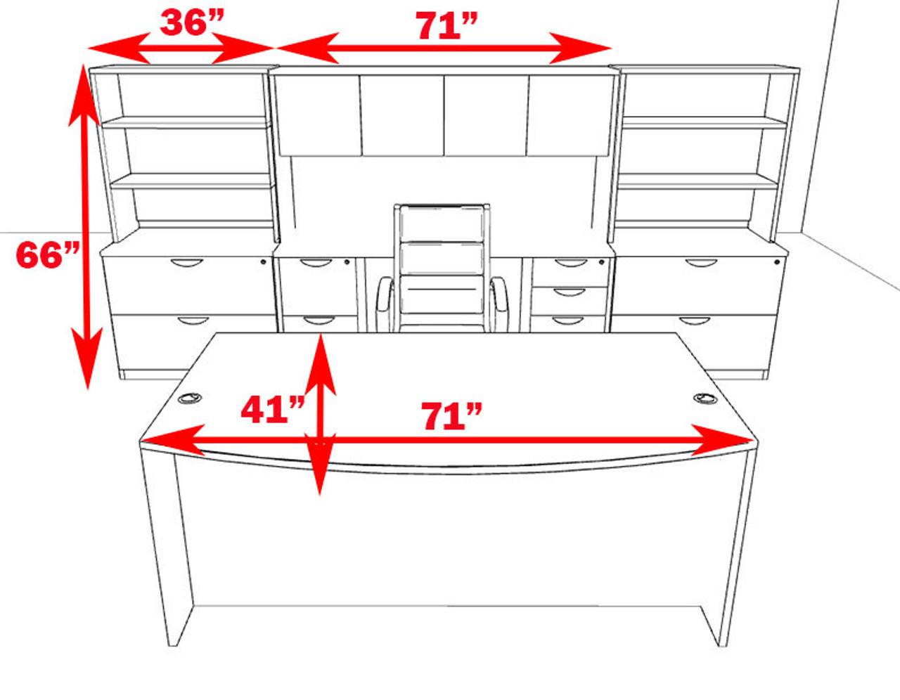 10pc Fan Front Modern Executive Office Desk Set, #OT-SUL-D12