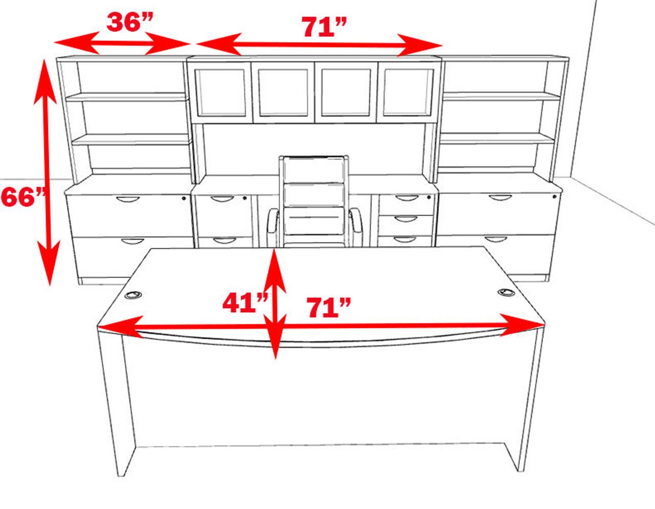 10pc Fan Front Modern Executive Office Desk Set, #OT-SUL-D14