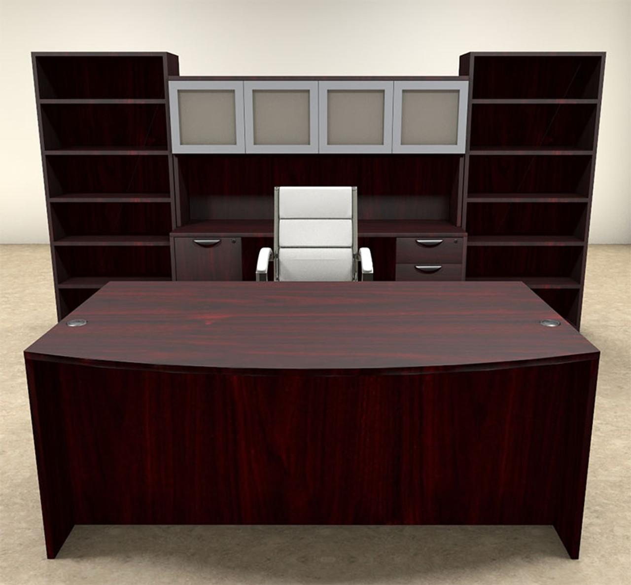 8pc Fan Front Modern Executive Office Desk Set, #OT-SUL-D19