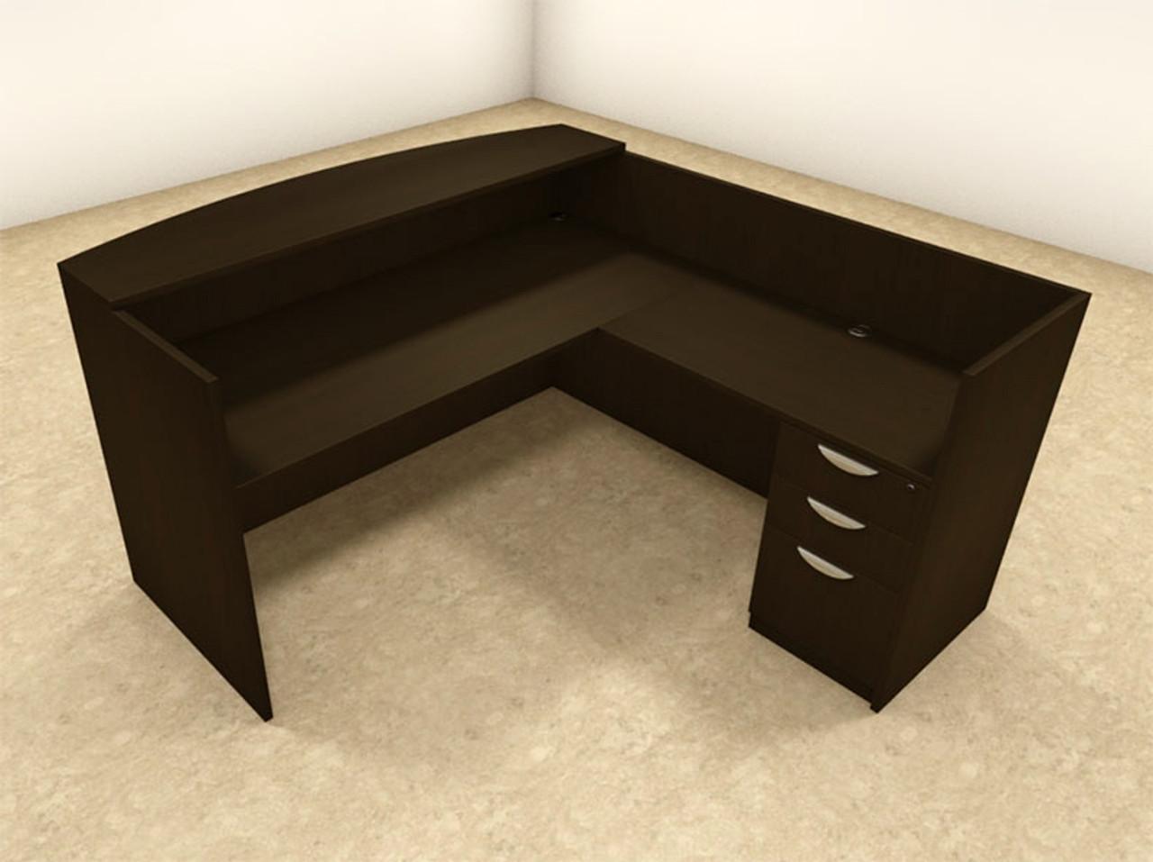 3pc L Shaped Modern Office Reception Desk, #OT-SUL-R8