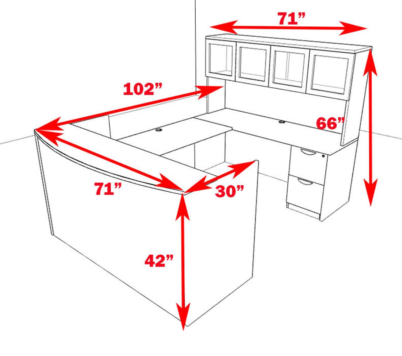 5pc U Shaped Modern Office Reception Desk Set, #OT-SUL-R9