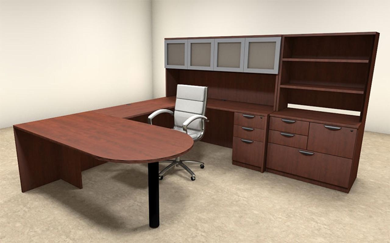 7pc u shaped modern executive office desk ot sul u50 h2o furniture. Black Bedroom Furniture Sets. Home Design Ideas
