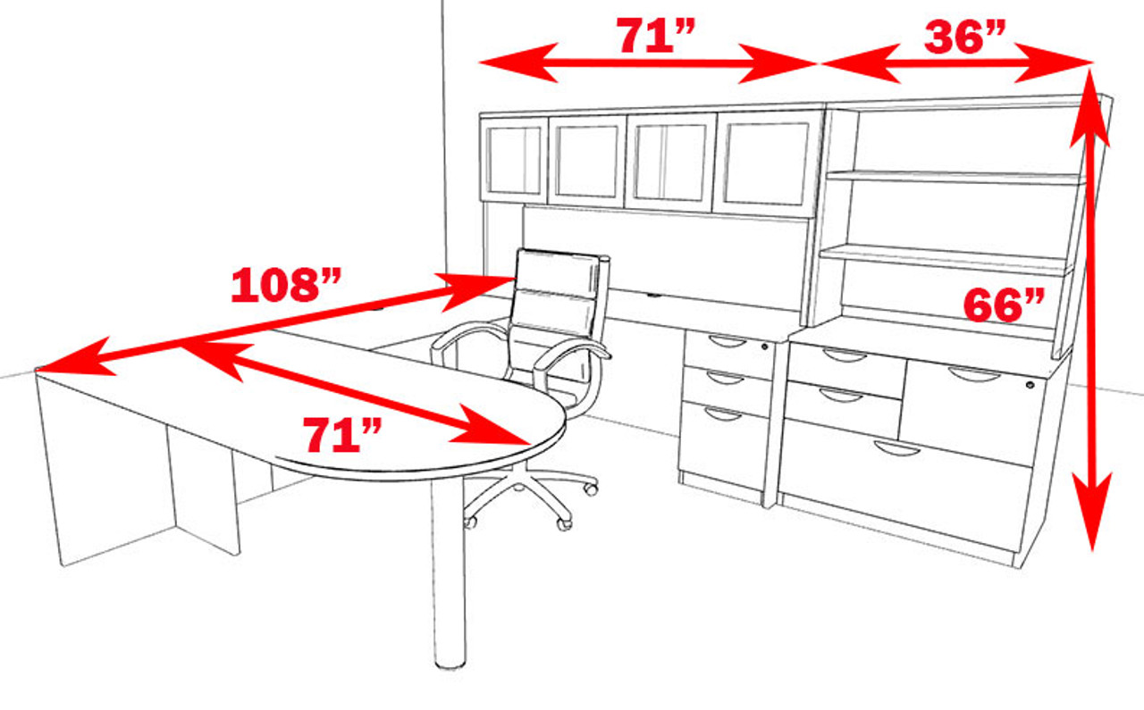 7pc U Shaped Modern Executive Office Desk, #OT-SUL-U51
