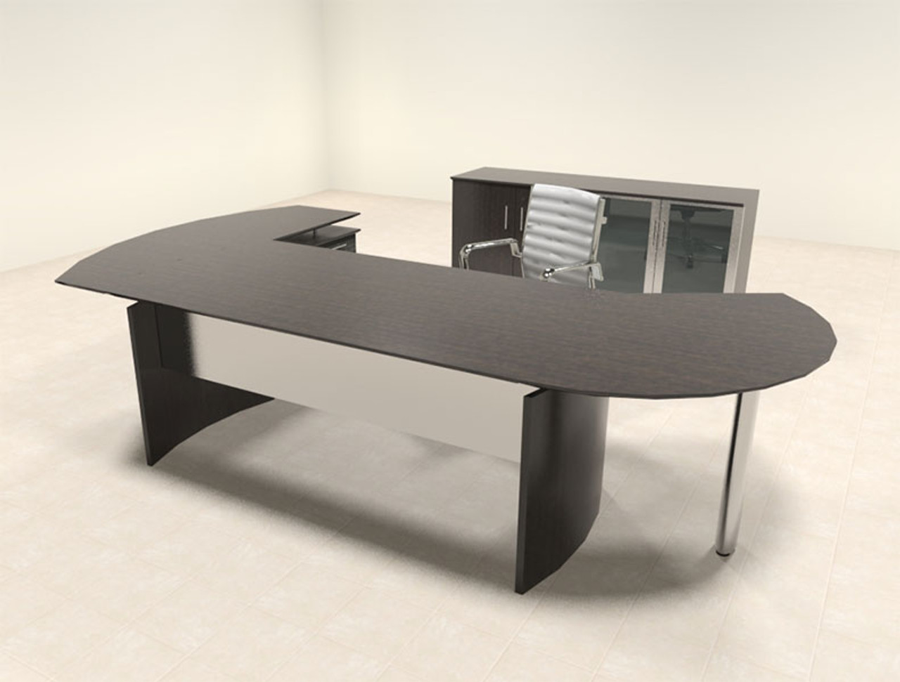 4pc Modern Contemporary L Shaped Executive Office Desk Set, #MT-MED-O12