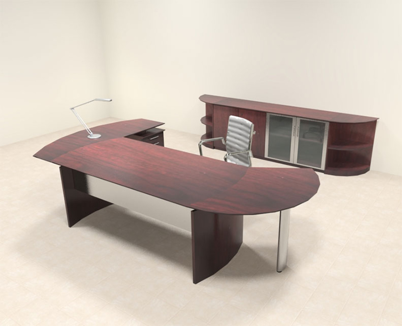 6pc Modern Contemporary L Shaped Executive Office Desk Set, #MT-MED-O14