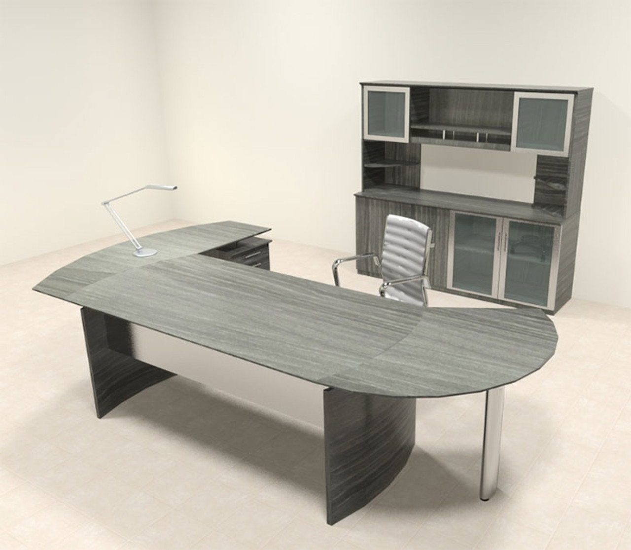 5pc Modern Contemporary L Shaped Executive Office Desk Set, #MT-MED-O16