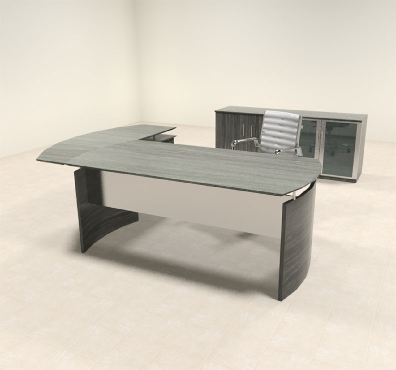 3pc Modern Contemporary L Shaped Executive Office Desk Set, #MT-MED-O28