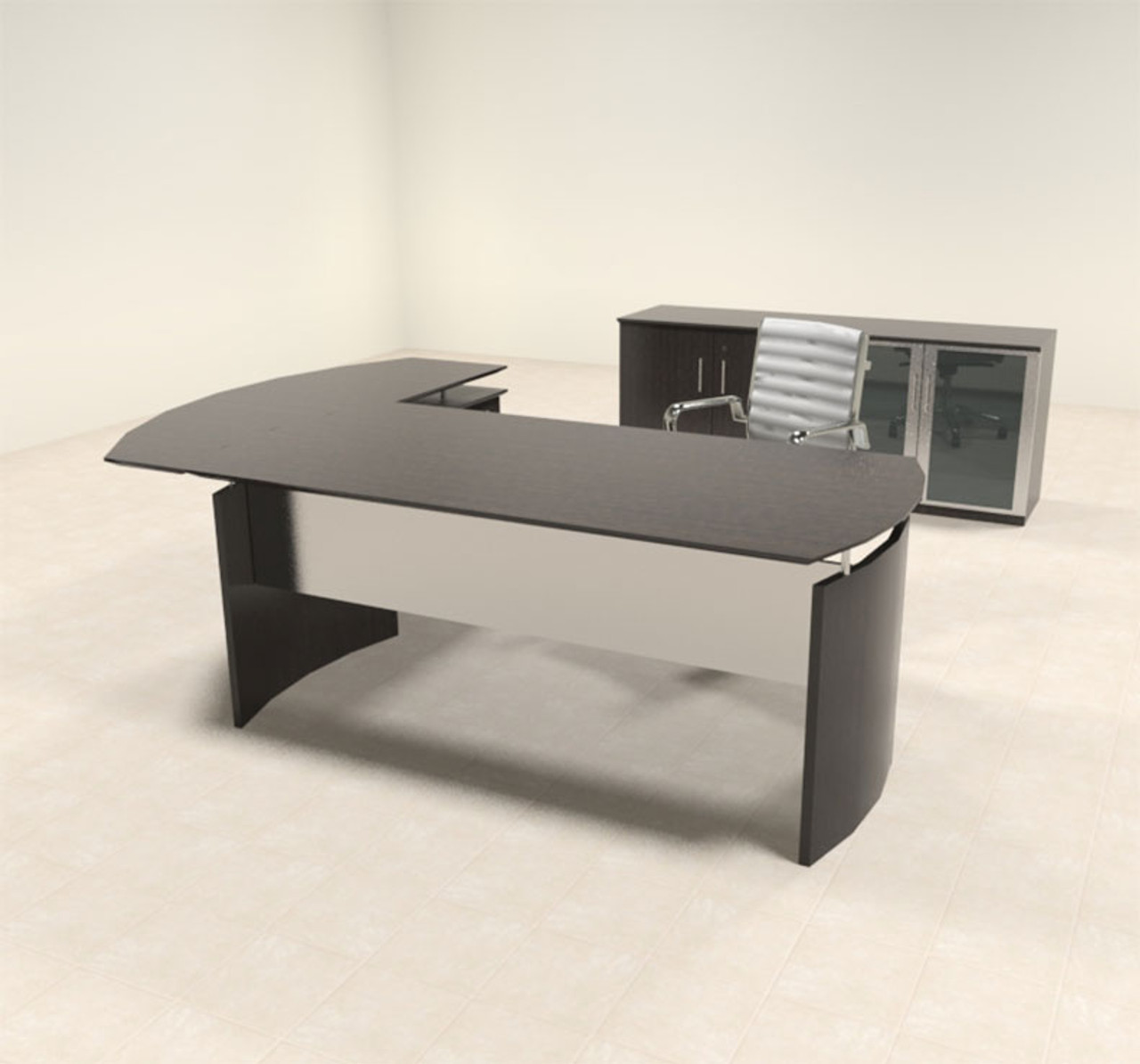 3pc Modern Contemporary L Shaped Executive Office Desk Set, #MT-MED-O30