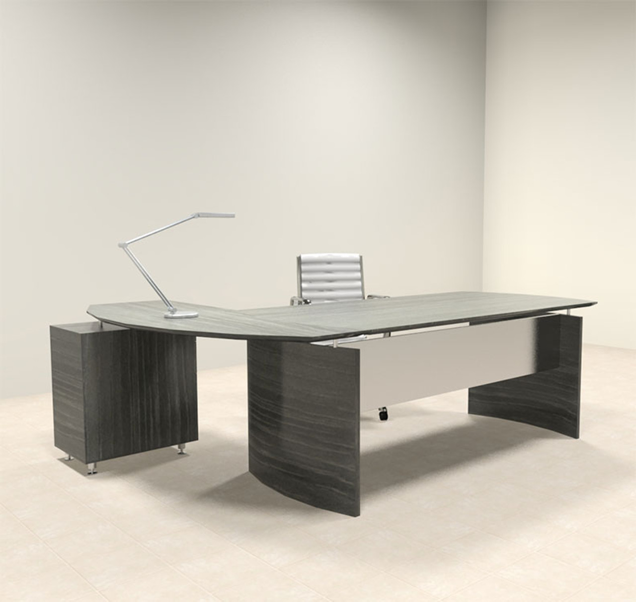 2pc Modern Contemporary L Shaped Executive Office Desk Set, #MT-MED-O4