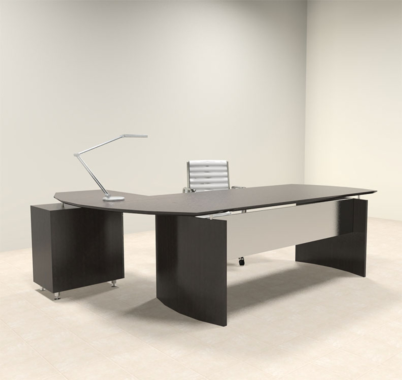 2pc Modern Contemporary L Shaped Executive Office Desk Set, #MT-MED-O6