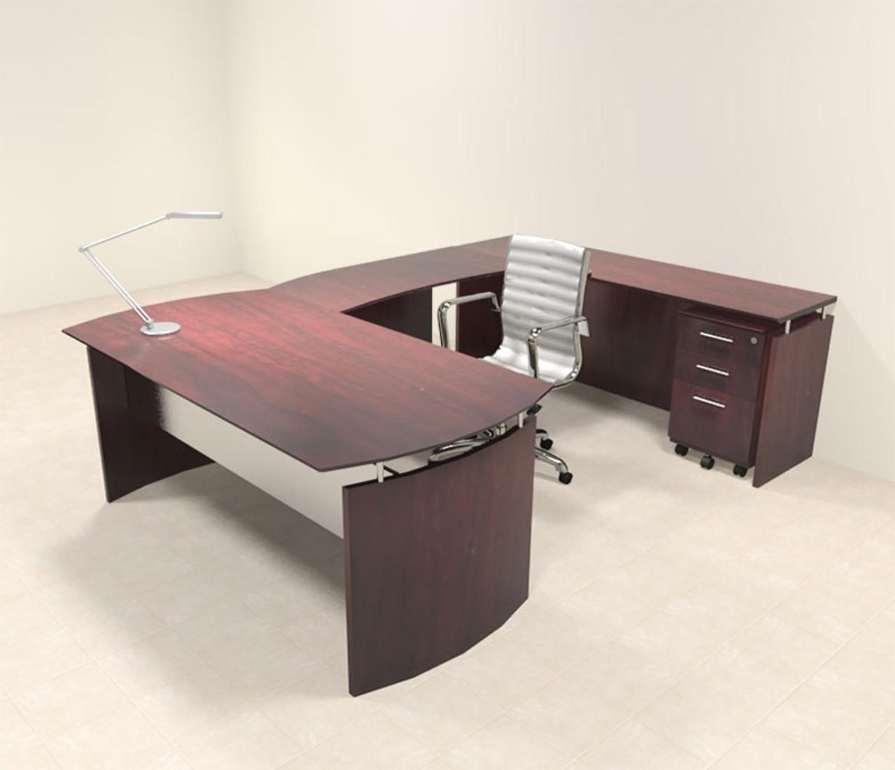 4pc Modern Contemporary U Shaped Executive Office Desk Set, #MT-MED-U2