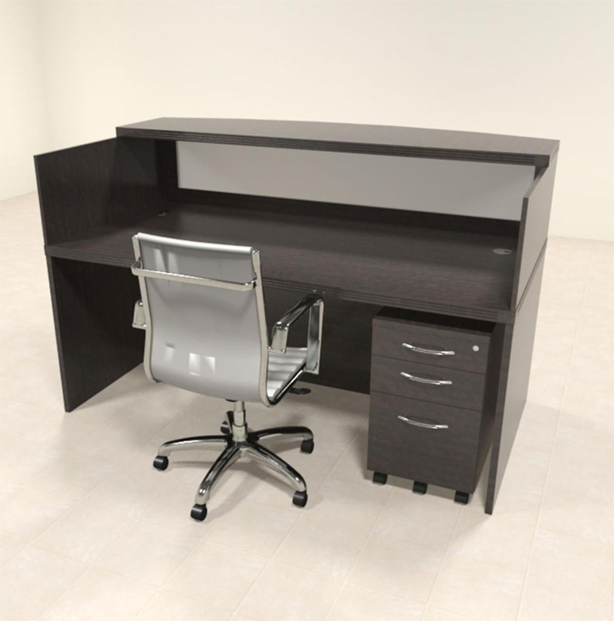 2pc Modern Contemporary Glass Reception Desk Set, #RO-ABD-R3