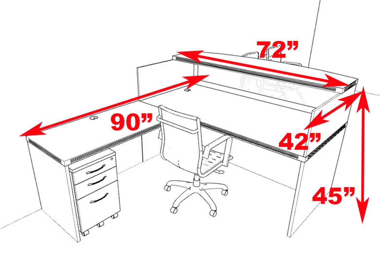 3pc Modern Contemporary L Shaped Glass Reception Desk Set, #RO-ABD-R6
