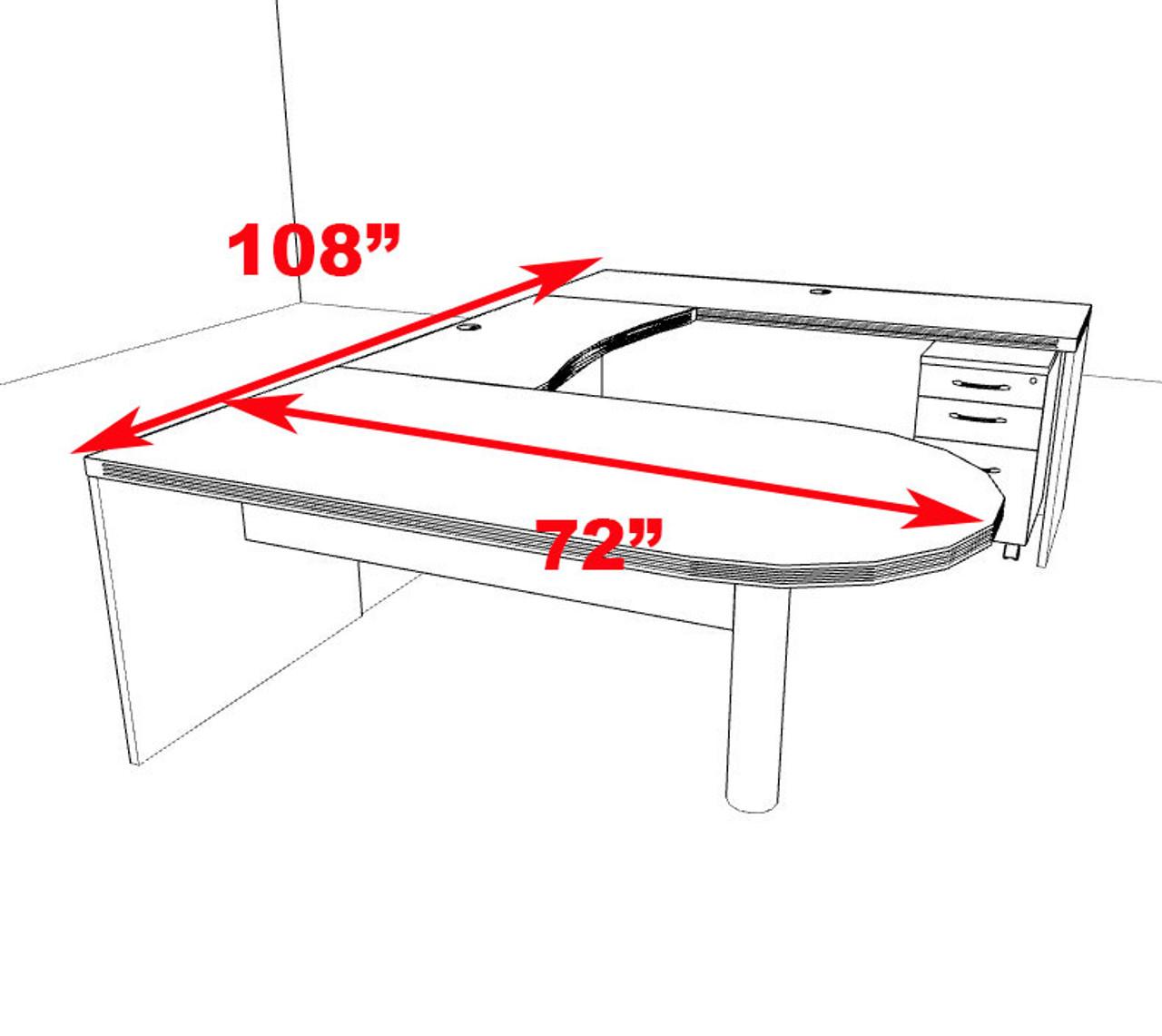 4pc Modern Contemporary U Shaped Executive Office Desk Set, #RO-ABD-U17