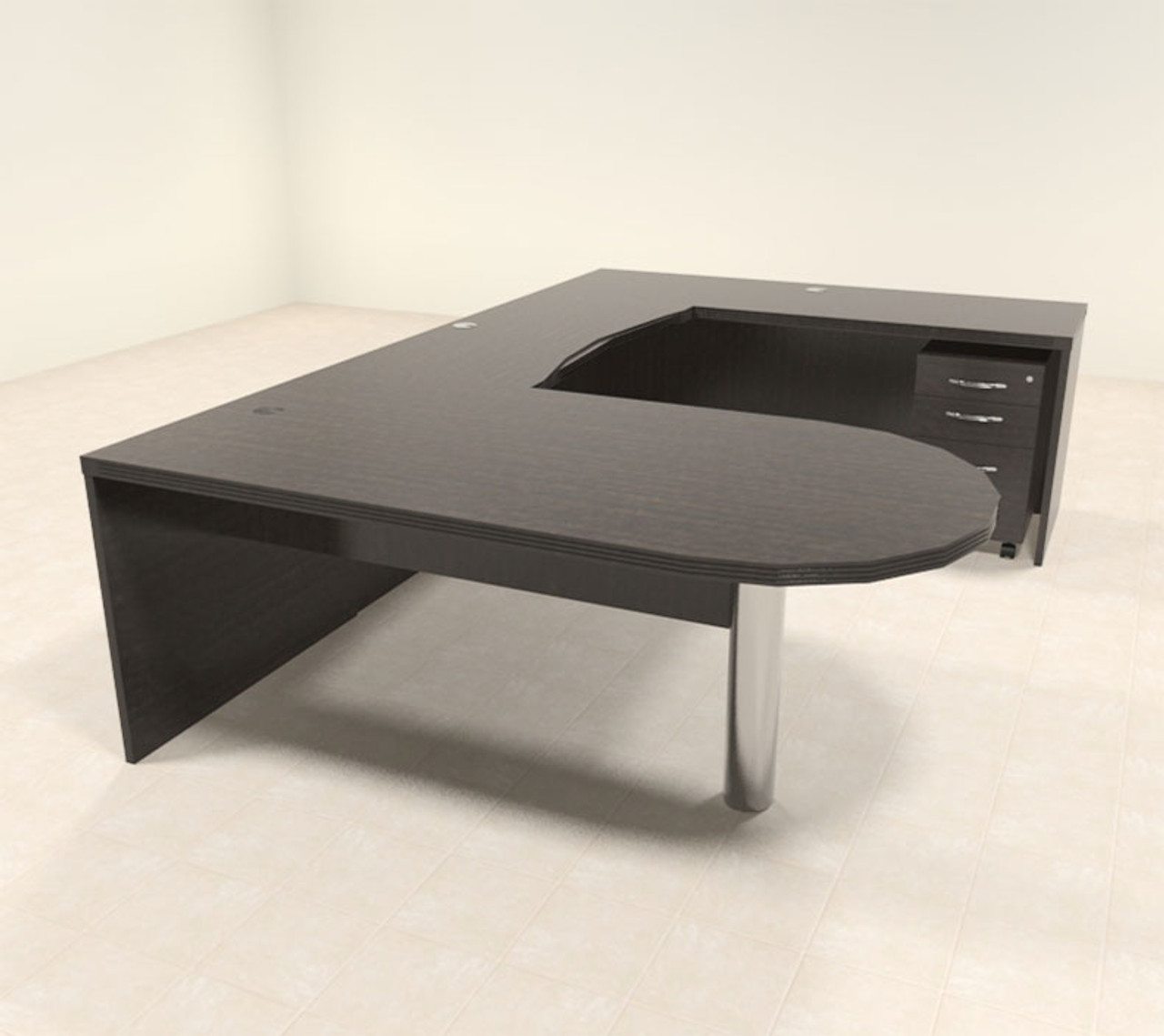 4pc Modern Contemporary U Shaped Executive Office Desk Set, #RO-ABD-U18