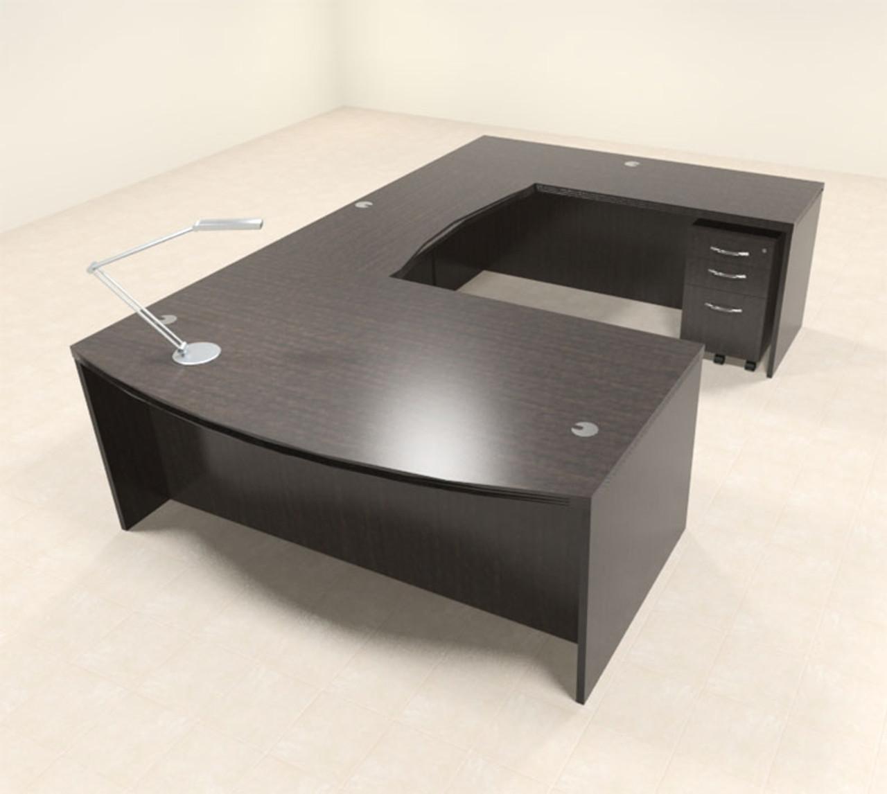 4pc Modern Contemporary U Shaped Executive Office Desk Set, #RO-ABD-U3
