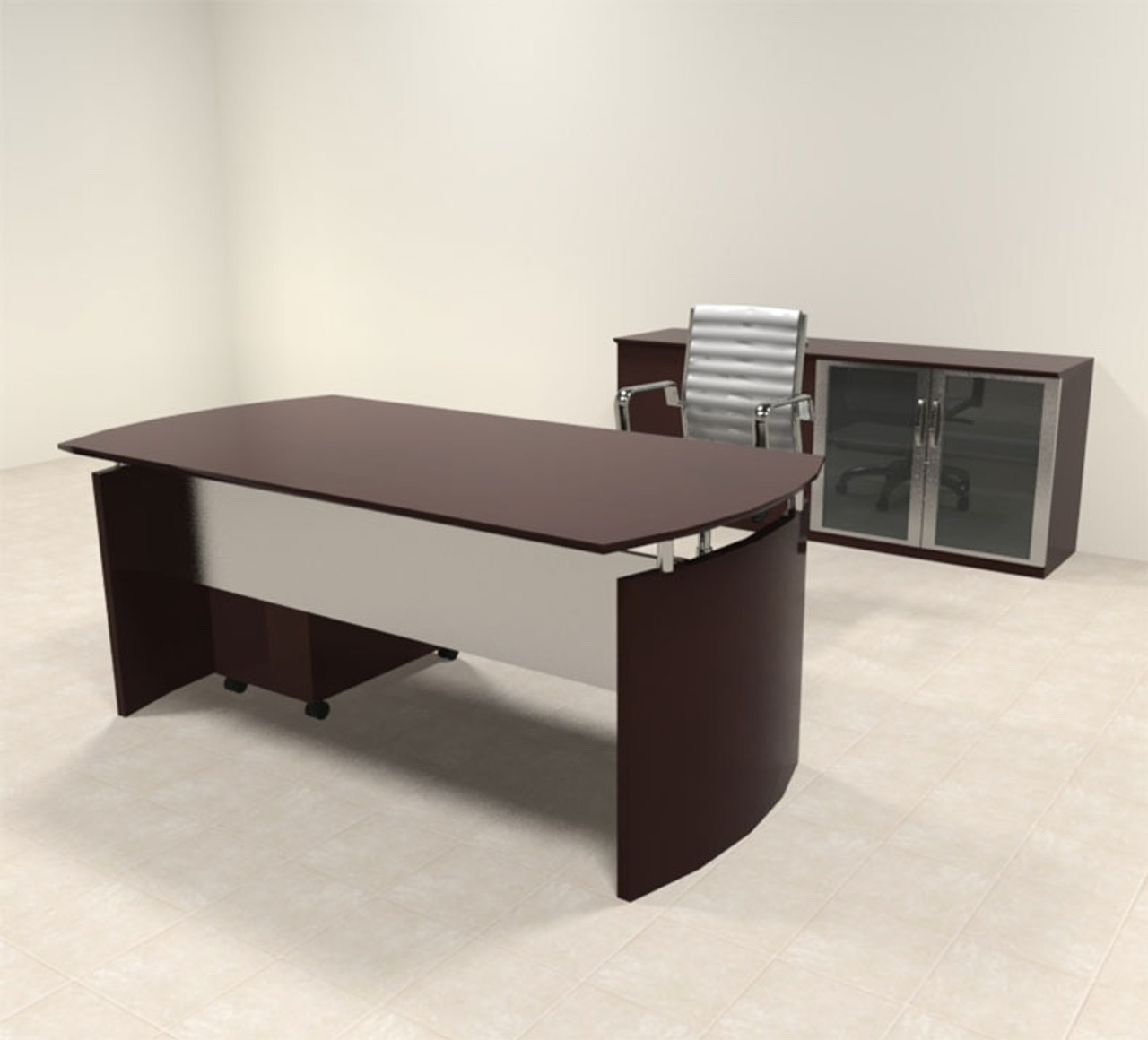 3pc Modern Contemporary Executive Office Desk Set, #RO-NAP-D6