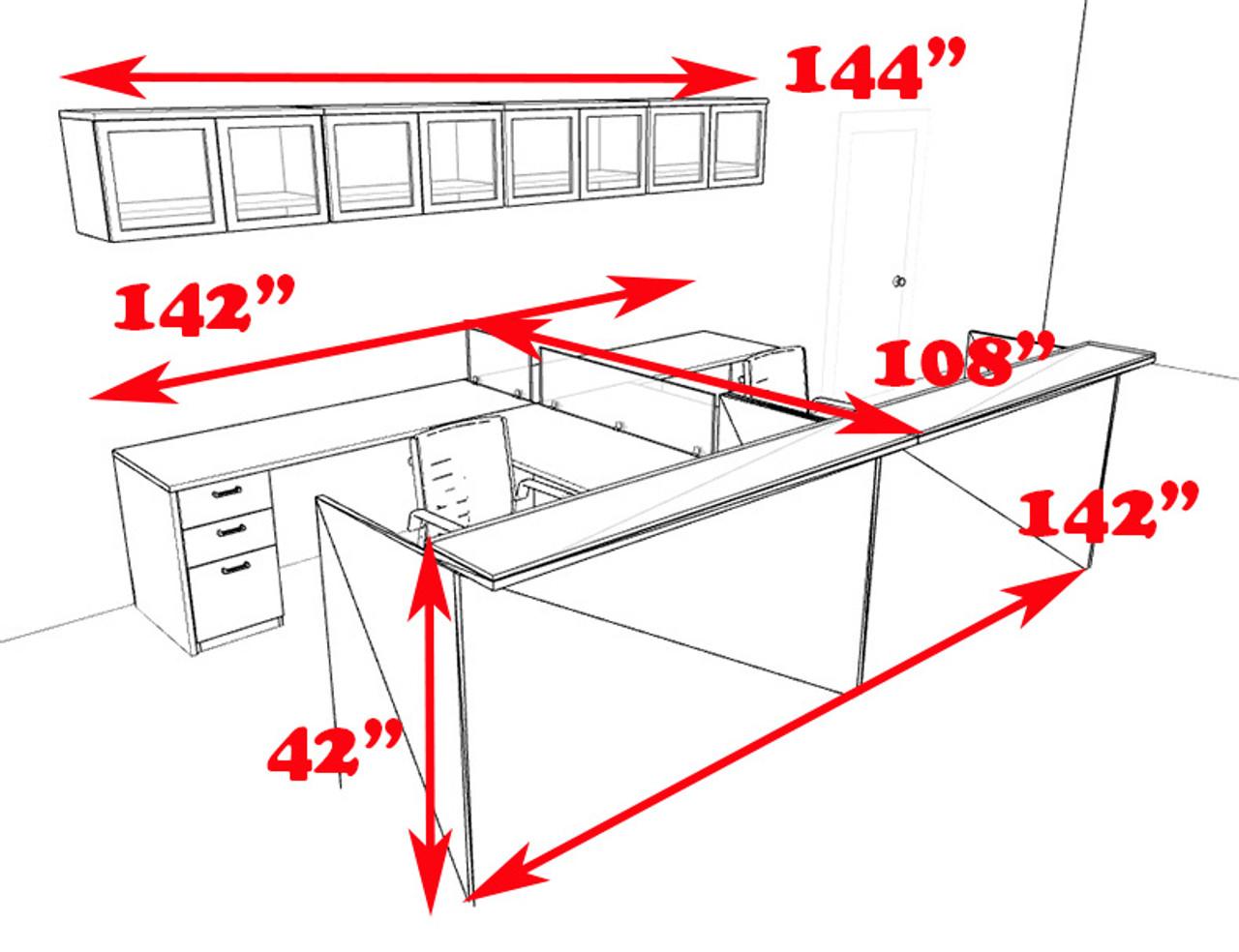 12pc 12' Feet U Shaped Glass Counter Reception Desk Set, #CH-AMB-R23