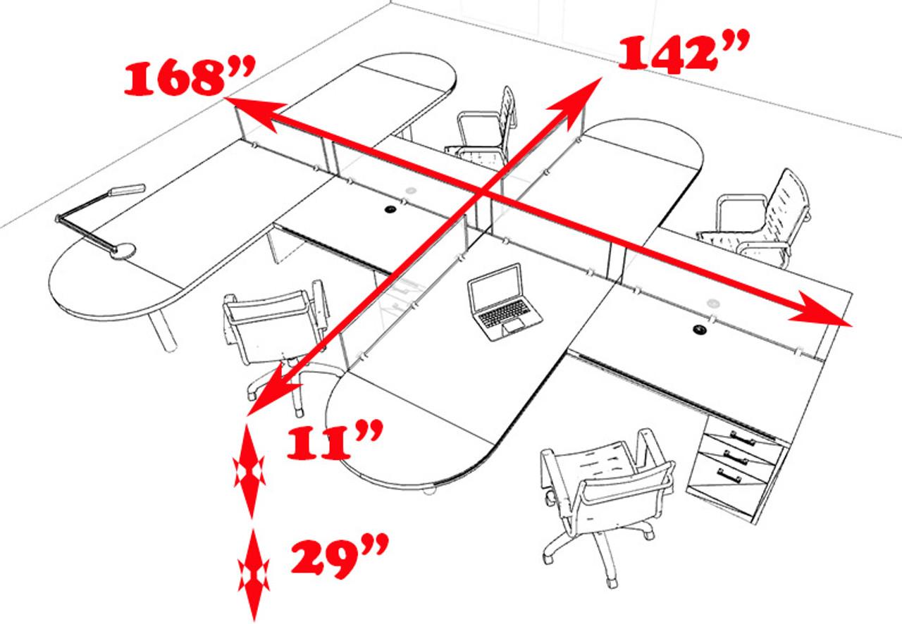 Four Person L Shaped Modern Divider Office Workstation Desk Set, #CH-AMB-SP24