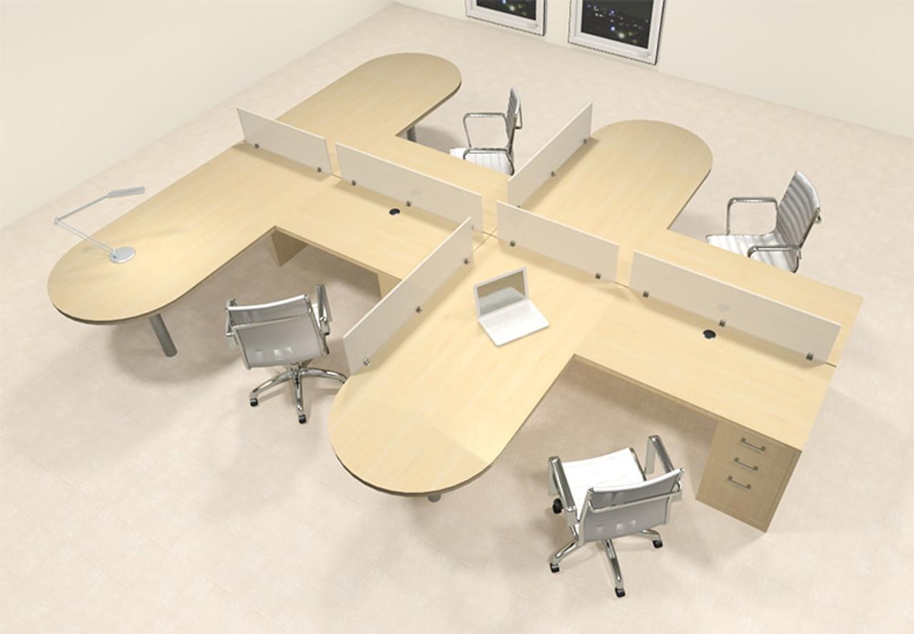 Four Person L Shaped Modern Divider Office Workstation Desk Set, #CH-AMB-SP25