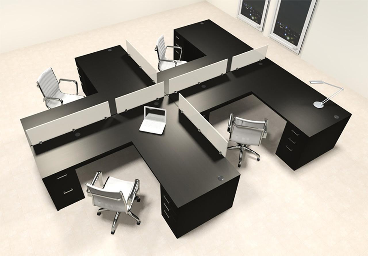 Four Person L Shaped Modern Divider Office Workstation Desk Set, #CH-AMB-SP38