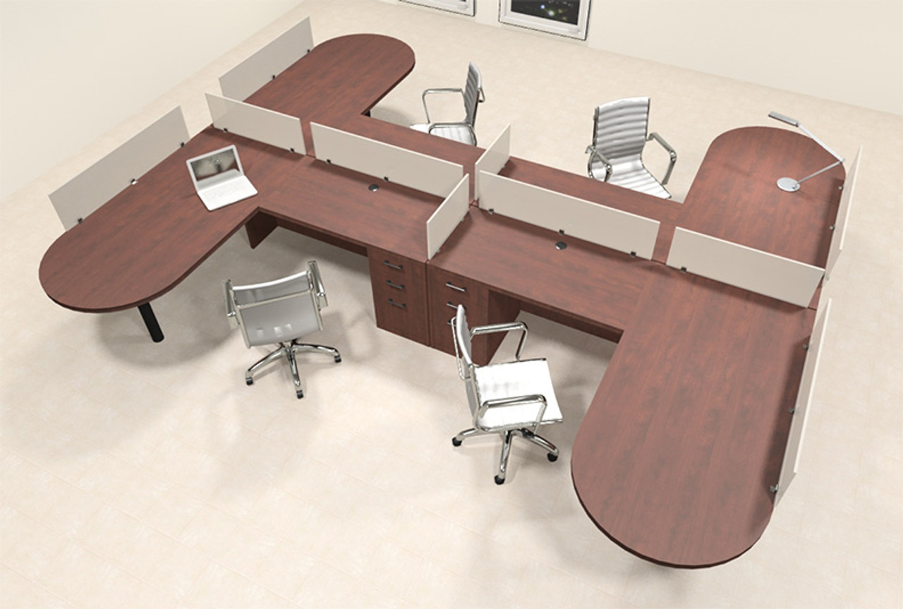 Four Person L Shaped Modern Divider Office Workstation Desk Set, #CH-AMB-SP51