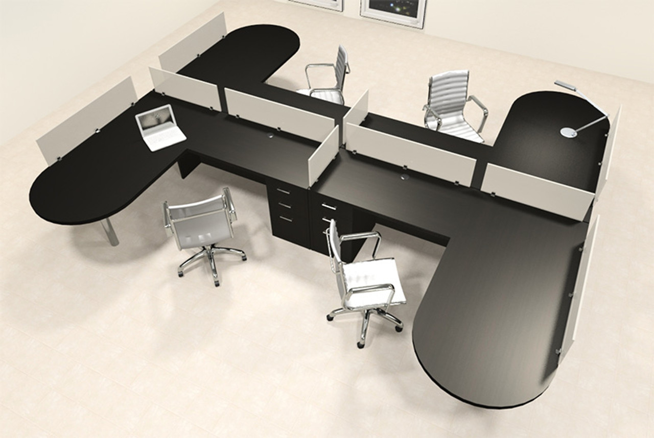 Four Person L Shaped Modern Divider Office Workstation Desk Set, #CH-AMB-SP53