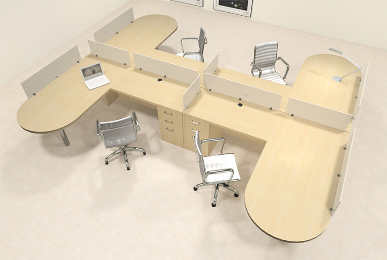 Four Person L Shaped Modern Divider Office Workstation Desk Set, #CH-AMB-SP55