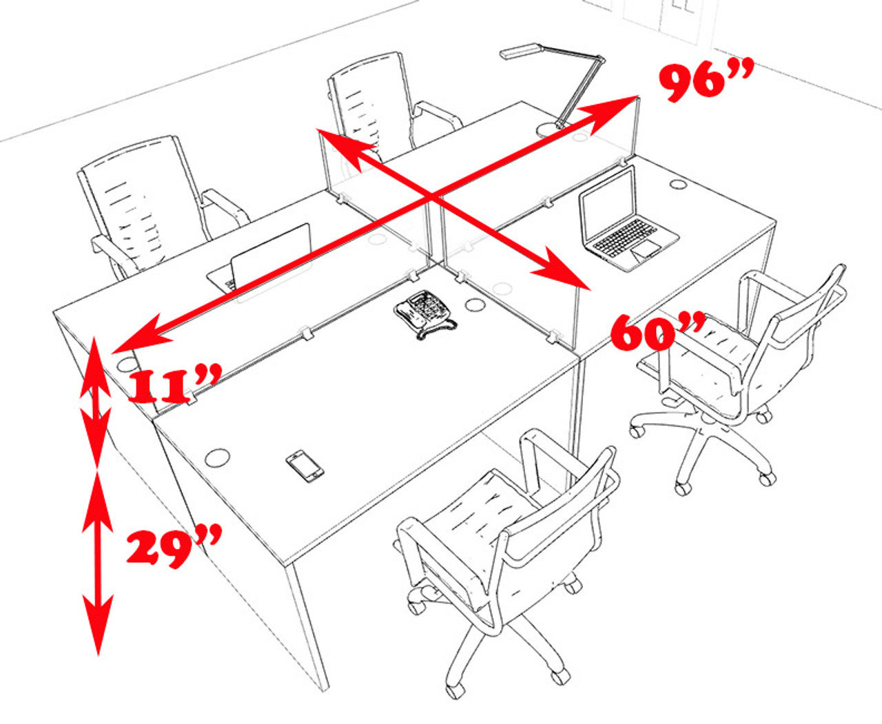 Four Persons Modern Office Divider Workstation Desk Set, #CH-AMB-FP20