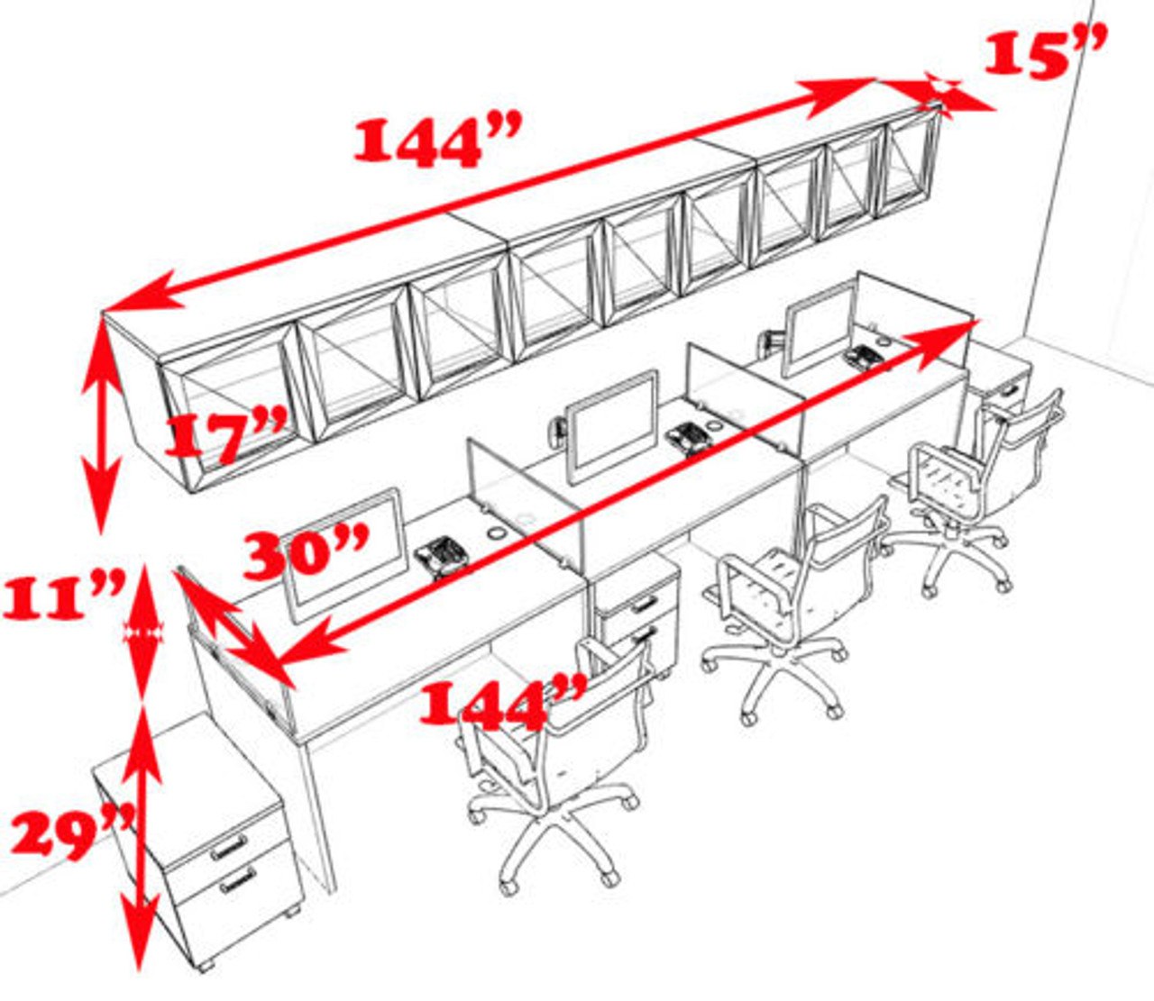Three Person Modern Divider Office Workstation Desk Set, #CH-AMB-SP106
