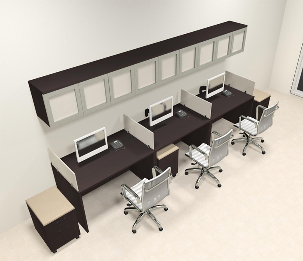 Three Person Modern Divider Office Workstation Desk Set, #CH-AMB-SP107