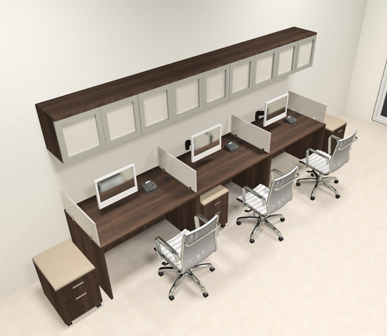 Three Person Modern Divider Office Workstation Desk Set, #CH-AMB-SP109