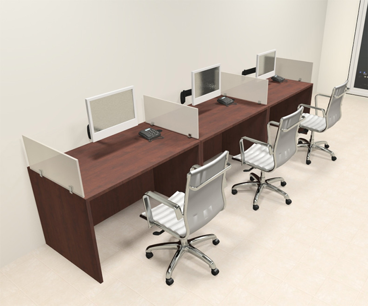 Three Person Modern Divider Office Workstation Desk Set, #CH-AMB-SP66