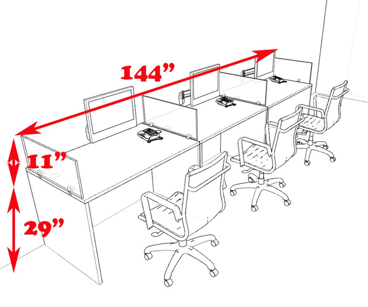 Three Person Modern Divider Office Workstation Desk Set, #CH-AMB-SP69