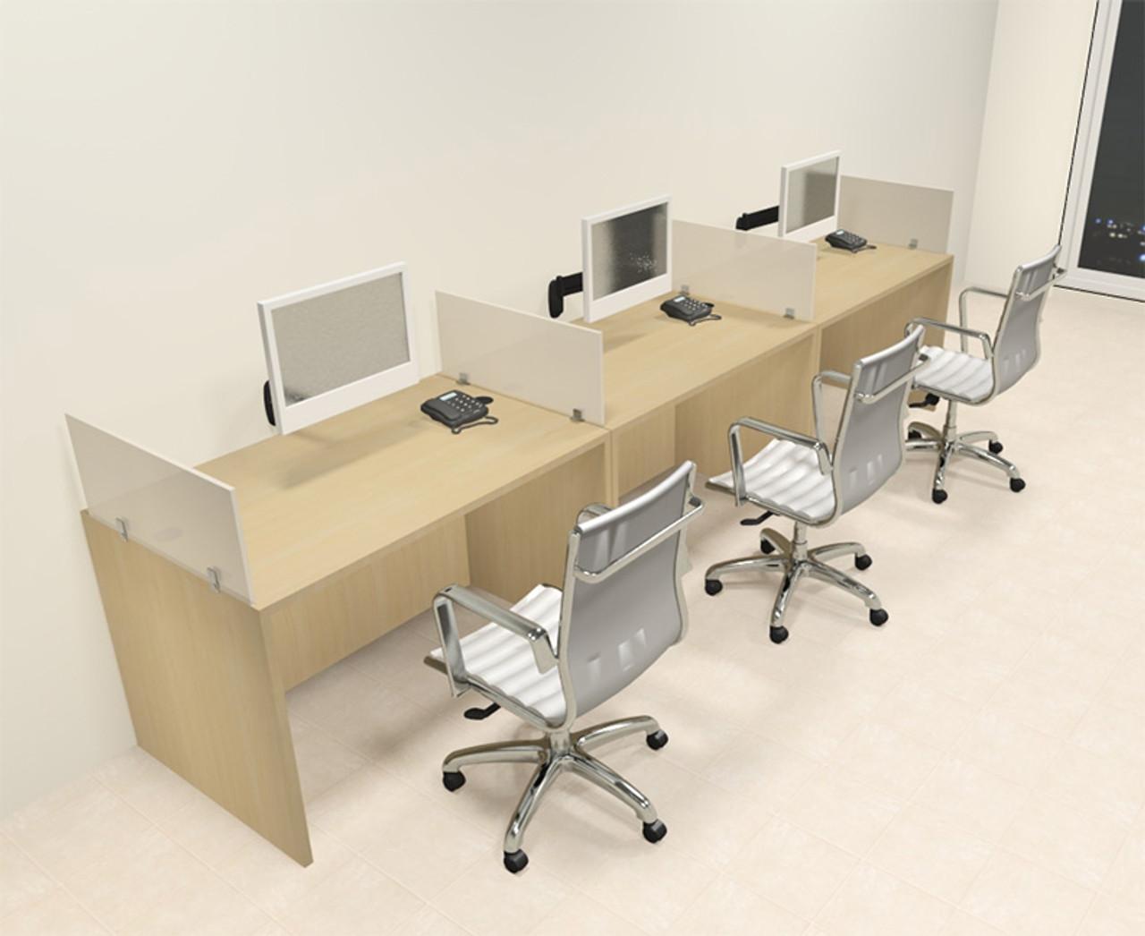 Three Person Modern Divider Office Workstation Desk Set, #CH-AMB-SP70