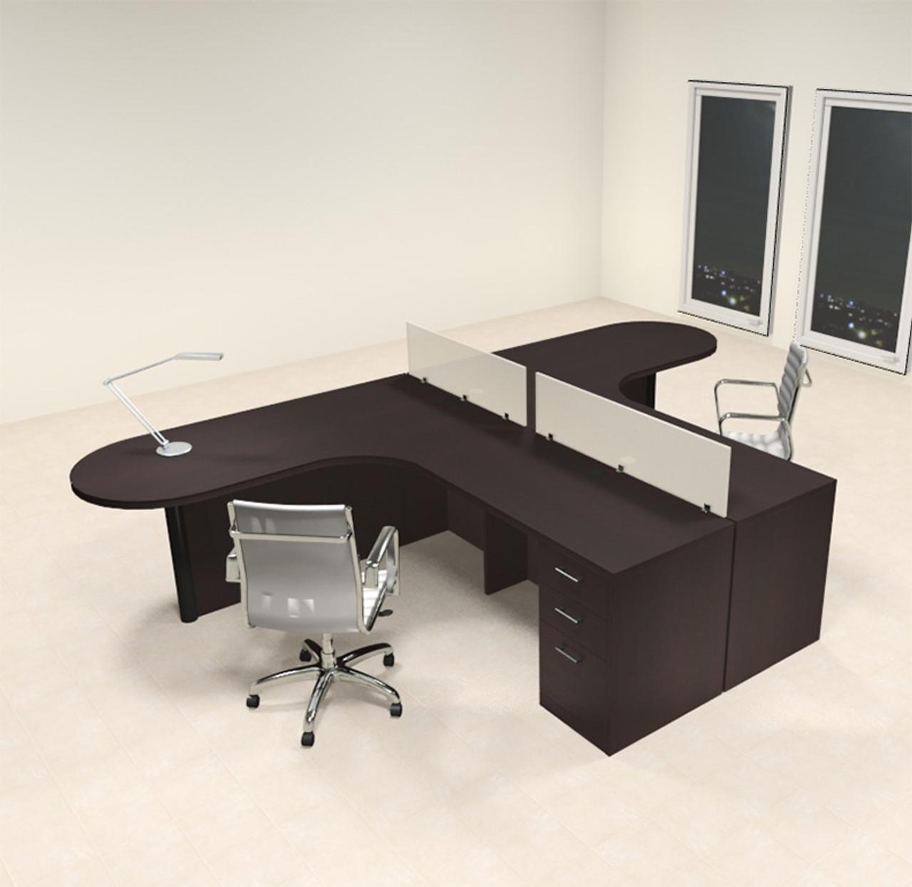 Two Person L Shaped Modern Divider Office Workstation Desk Set, #CH-AMB-SP2
