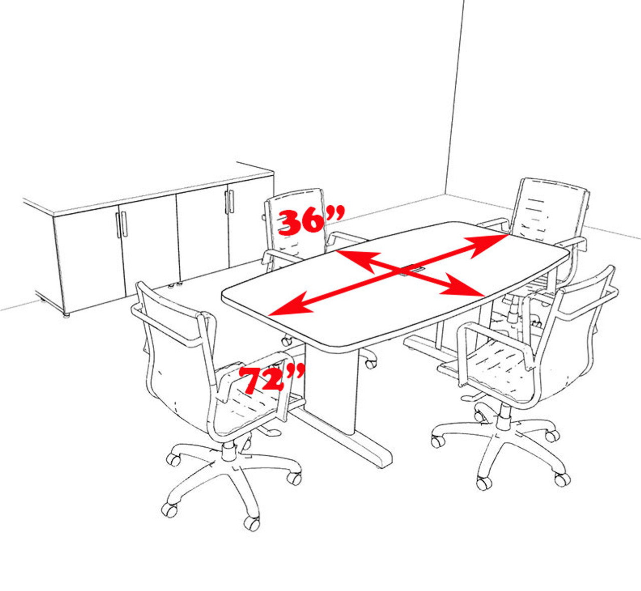Modern Boat Shaped 6' Feet Conference Table, #MT-CSD-C12