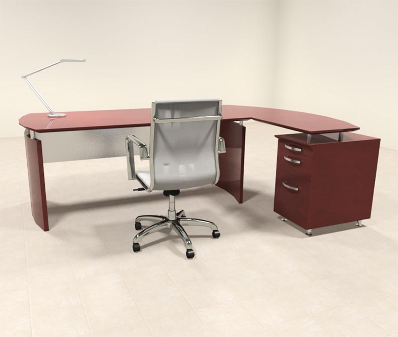 2pc Modern Contemporary L Shape Executive Office Desk Set, #RO-NAP-L2