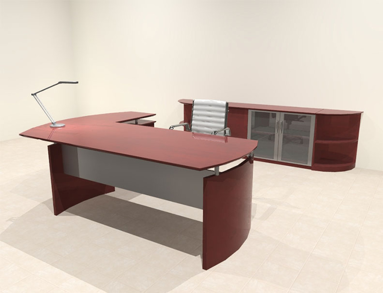 5pc Modern Contemporary L Shape Executive Office Desk Set, #RO-NAP-L8